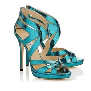 Jimmy Choo Collar Bilberry turquoise sandals